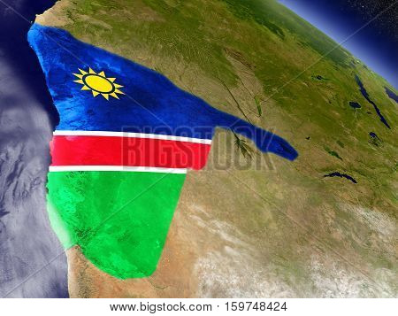 Namibia With Embedded Flag On Earth