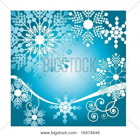 fun fresh snowflakes with coil over blue