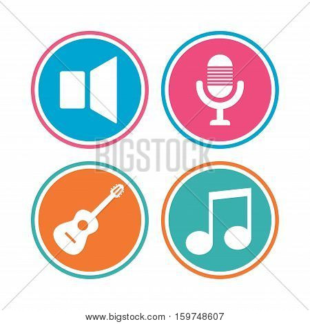 Musical elements icons. Microphone and Sound speaker symbols. Music note and acoustic guitar signs. Colored circle buttons. Vector