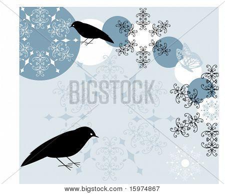 aves com floco de neve e borboleta