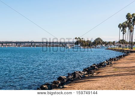 Shoreline of Sunset Point Park on Mission Bay in San Diego, California.