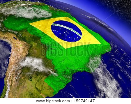 Brazil With Embedded Flag On Earth