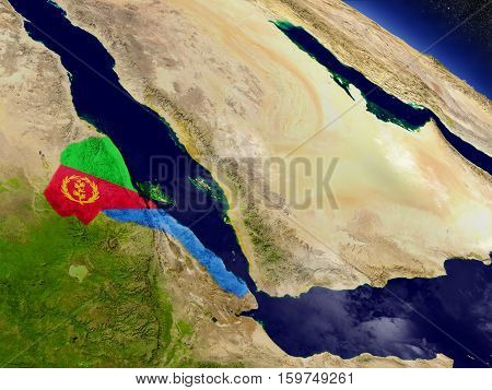 Eritrea With Embedded Flag On Earth