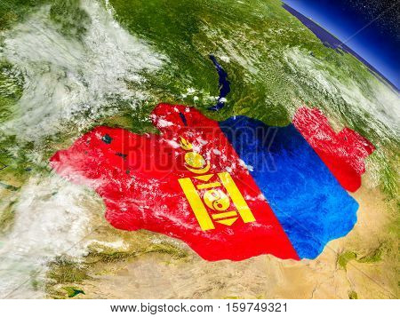 Mongolia With Embedded Flag On Earth