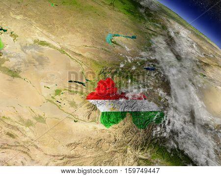 Tajikistan With Embedded Flag On Earth