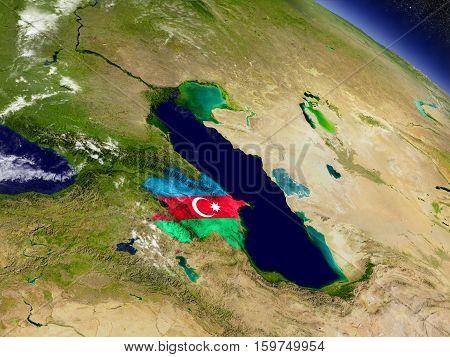 Azerbaijan With Embedded Flag On Earth