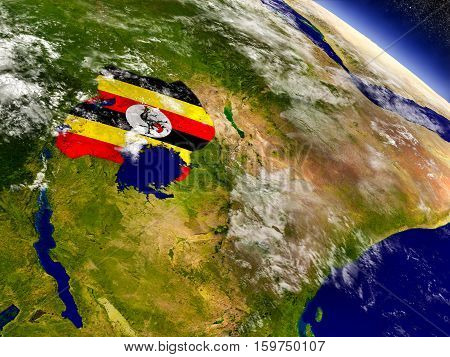 Uganda With Embedded Flag On Earth