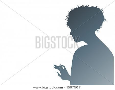 profile of woman gazing downward  with hand up to touch or reach for something