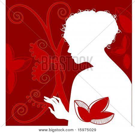 woman reaching/touching silhouette with foliage
