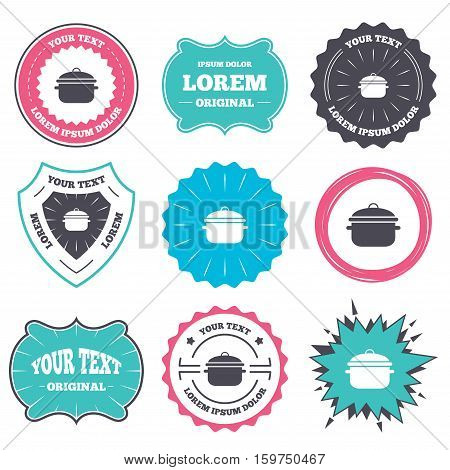 Label and badge templates. Cooking pan sign icon. Boil or stew food symbol. Retro style banners, emblems. Vector