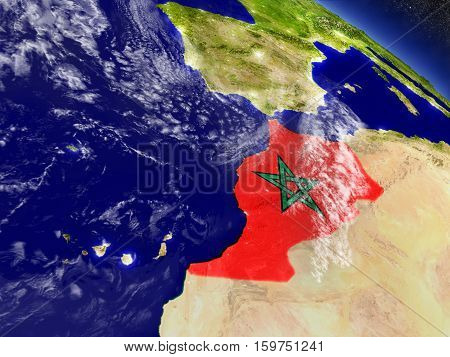 Morocco With Embedded Flag On Earth