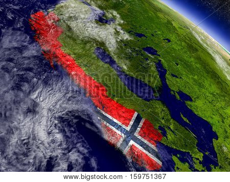 Norway With Embedded Flag On Earth
