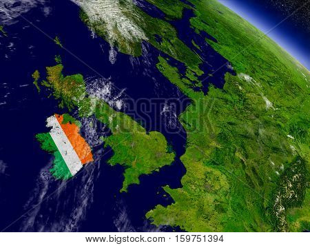 Ireland With Embedded Flag On Earth