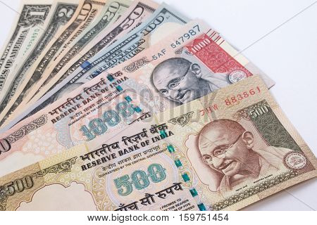 India Rupee 500 And 1000 Banknote Over Us Dollar Banknote. Abolition Of Exchange Concept.