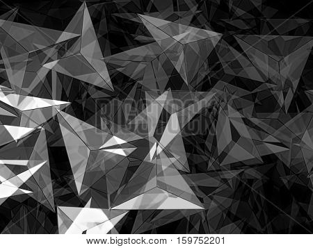 Abstract geometric background - computer-generated black and white illustration. Fractal art: chaos triangles of different sizes.