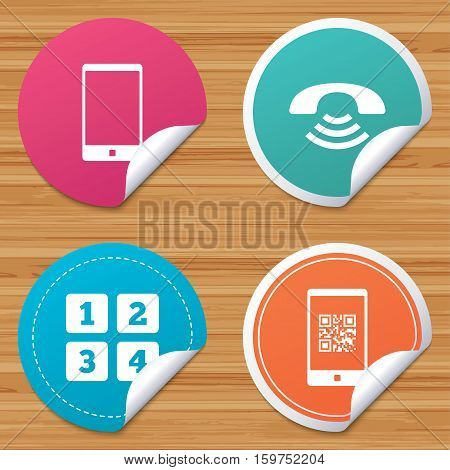 Round stickers or website banners. Phone icons. Smartphone with Qr code sign. Call center support symbol. Cellphone keyboard symbol. Circle badges with bended corner. Vector