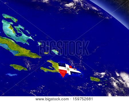 Dominican Republic With Embedded Flag On Earth