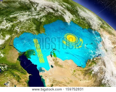 Kazakhstan With Embedded Flag On Earth