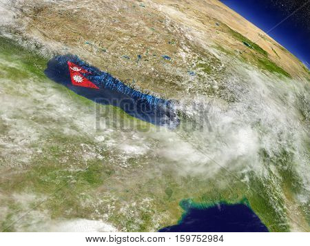 Nepal With Embedded Flag On Earth