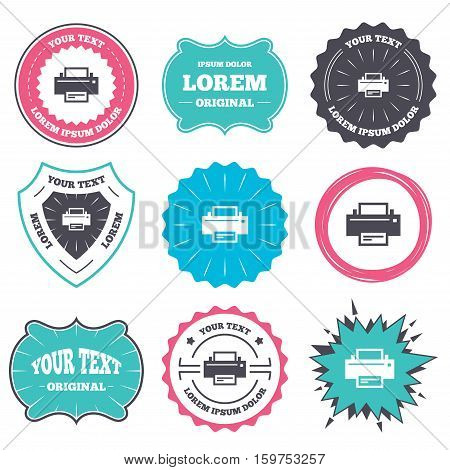 Label and badge templates. Print sign icon. Printing symbol. Print button. Retro style banners, emblems. Vector