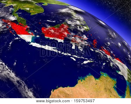 Indonesia With Embedded Flag On Earth