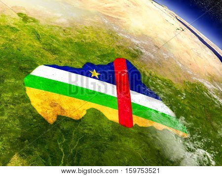 Central Africa With Embedded Flag On Earth
