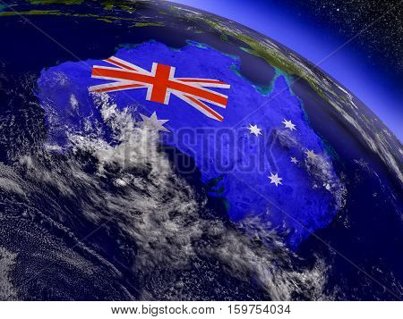 Australia With Embedded Flag On Earth