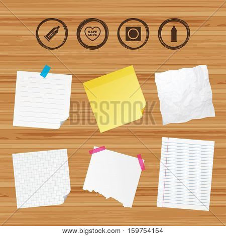 Business paper banners with notes. Safe sex love icons. Condom in package symbol. Fertilization or insemination. Heart sign. Sticky colorful tape. Vector