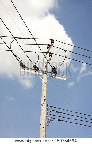 electricity post, Power line post and blue sky