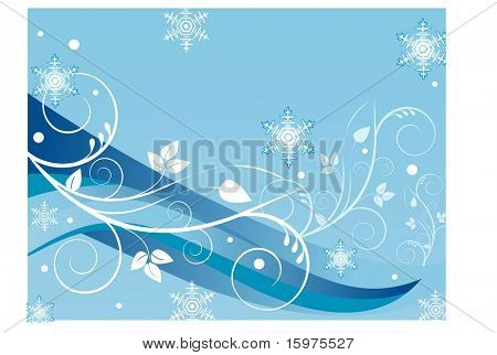 lines with foliage and snowflakes background