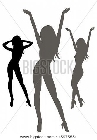 silhouettes of sexy females on white background