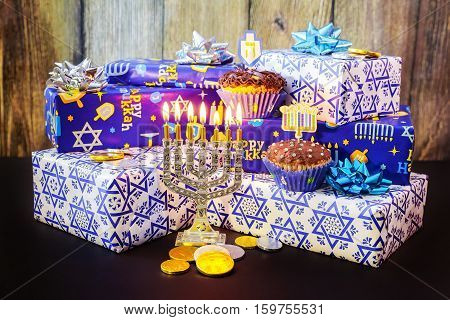 Jewish Holiday Hanukkah Festive Composition For  On Dark Background