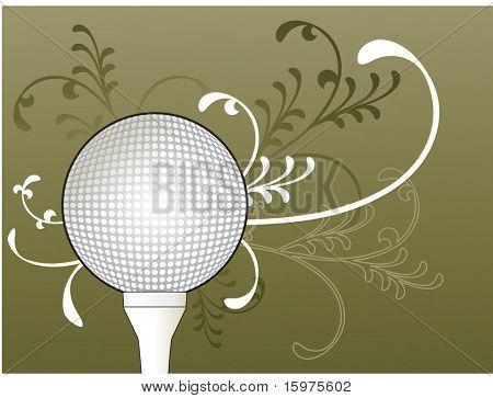 pelota de golf en t con follaje detrás