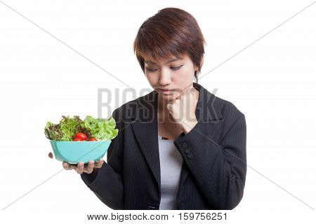 Asian Business Woman Hate Salad.