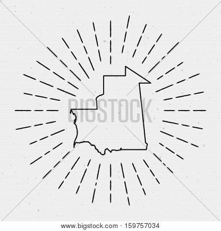 Vector Mauritania Map Outline With Retro Sunburst Border. Hand Drawn Hipster Decoration Element. Bla