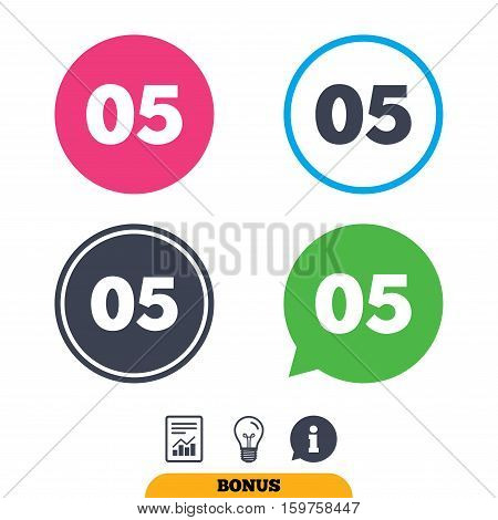 Fifth step sign. Loading process symbol. Step five. Report document, information sign and light bulb icons. Vector