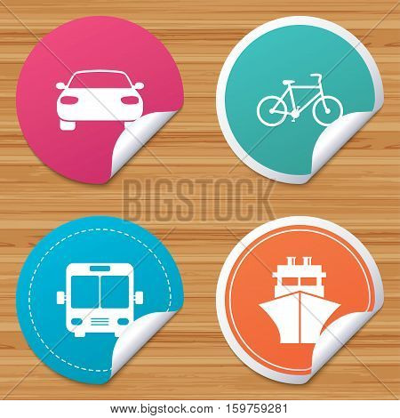 Round stickers or website banners. Transport icons. Car, Bicycle, Public bus and Ship signs. Shipping delivery symbol. Family vehicle sign. Circle badges with bended corner. Vector