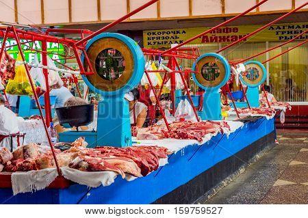 Fresh Meat For Sale At Green Bazaar, Almaty