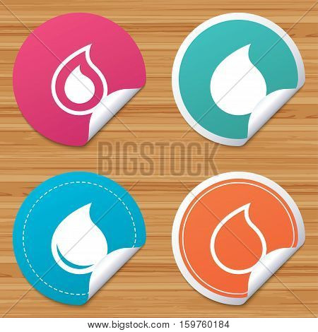 Round stickers or website banners. Water drop icons. Tear or Oil drop symbols. Circle badges with bended corner. Vector