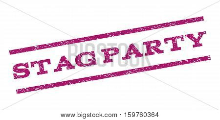 Stag Party watermark stamp. Text caption between parallel lines with grunge design style. Rubber seal stamp with dirty texture. Vector purple color ink imprint on a white background.