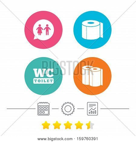 Toilet paper icons. Gents and ladies room signs. Paper towel or kitchen roll. Man and woman symbols. Calendar, cogwheel and report linear icons. Star vote ranking. Vector