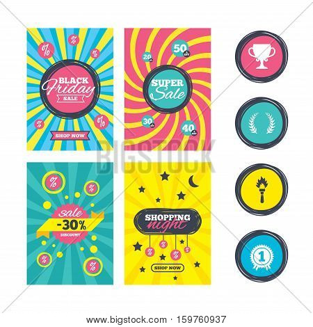 Sale website banner templates. First place award cup icons. Laurel wreath sign. Torch fire flame symbol. Prize for winner. Ads promotional material. Vector