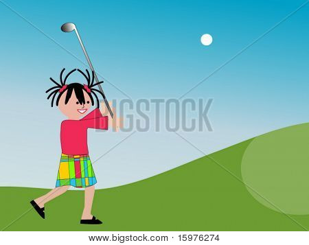 cartoon girl golfing