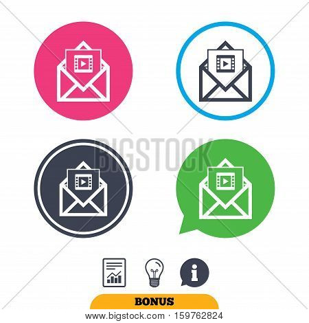 Video mail icon. Video frame symbol. Message sign. Report document, information sign and light bulb icons. Vector