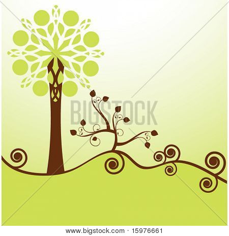 tree with coil shrub and landscape