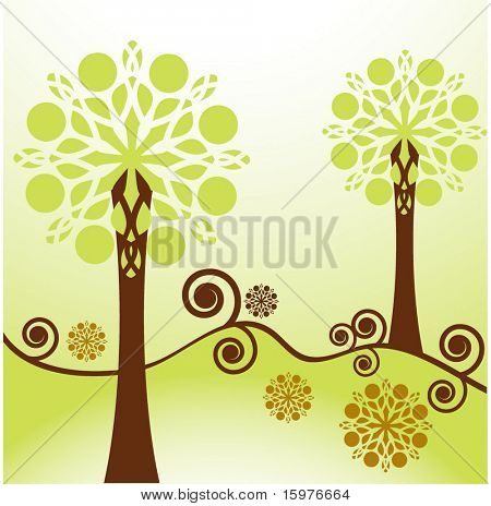 funky trees with matching flowerheads