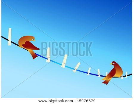 birds on a clothesline