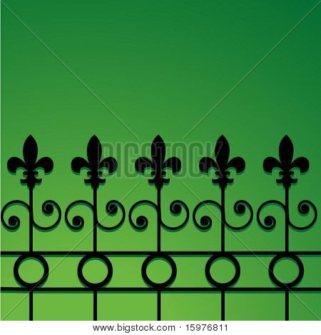wrought iron fence with fleur de lis