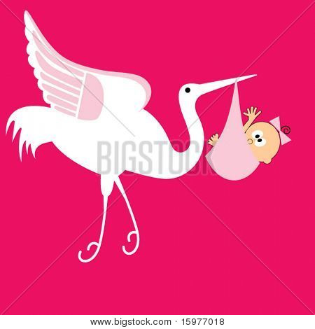 Storch mit Baby girl