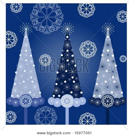 christmas trees in blue - each tree on different layer for easy editing